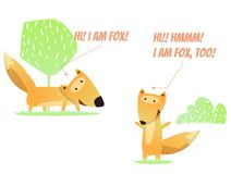 Two fun foxes. Cartoon characters of forest animals. Design for mobile app, sticker, kids print, cards. Vector illustration stock illustration