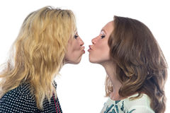 Two fun kissing sisters Stock Photography