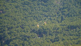 Two funicular wagon moving towards each other. View from above stock footage