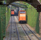 Two funiculars moving on the railroad Royalty Free Stock Photo