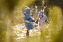 Two funny adorable little sisters winter park Royalty Free Stock Images