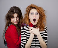 Two Funny Angry Girls. Royalty Free Stock Photos