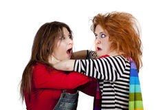Two Funny Angry Girls. Royalty Free Stock Photography