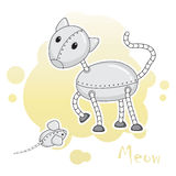 Two funny animal-robots, cat and mouse. Royalty Free Stock Photos
