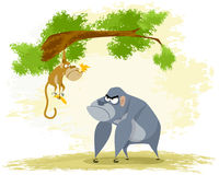 Two funny apes. Vector illustration of a two funny apes Royalty Free Stock Images