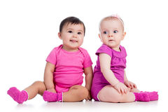 Two funny babies Stock Photos