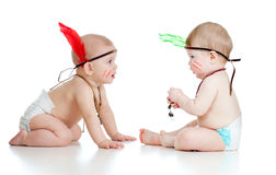 Two funny babies Indians in diaper or nappy Stock Image