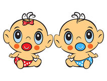 Two Funny baby sitting. Cute baby boy and girl sitting in a diap Royalty Free Stock Photos