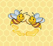 Two funny bees on the honeycomb background Stock Photo