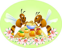 Two funny bees Stock Images