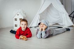 Two funny boys play together. Cute happy brothers smiling and having fun royalty free stock photo
