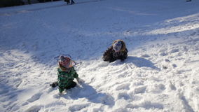 Two funny boys playing with a sled. On winter walk stock video footage
