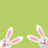 Two funny Bunny peeking from the corner. Vector image. Royalty Free Stock Photography
