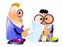 Two funny businessmen and envelope. Illustration. One businessman gives a letter to another. Isolated stock illustration