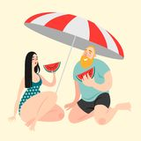 Two funny cartoon characters eating watermelon on the beach. Vector illustration Stock Images