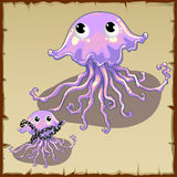 Two funny cartoon characters pink jellyfish Stock Photo