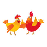 Two funny cartoon chickens pointing to something and raising wings Stock Photo