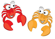 Two funny cartoon crab Royalty Free Stock Image