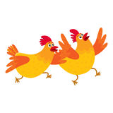 Two funny cartoon orange chickens, hens rushing, hurrying somewhere Royalty Free Stock Photos