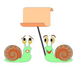 Two funny cartoon snails with a big blank paper Stock Photos