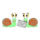 Two funny cartoon snails with a letter Stock Image