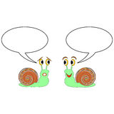Two funny cartoon snails with talk bubbles. Vector-art illustration on a white background Stock Photography