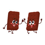 Two funny chocolate bar characters jumping from happiness and excitement Royalty Free Stock Photos