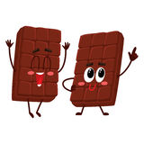 Two funny chocolate bar characters, one jumping excitedly Stock Images
