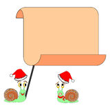 Two funny Christmas cartoon snails with a big blan Royalty Free Stock Image