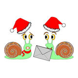 Two funny Christmas cartoon snails with a letter Stock Images