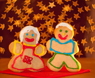 Two funny, colorful Christmas cookies Royalty Free Stock Photography