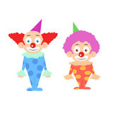 Two funny colorfull clowns cartoon character Royalty Free Stock Photo