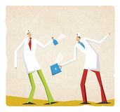 Two funny doctors working with bottle and suitcase Stock Image