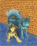Two funny dogs sitting next to each other. Alaskan Malamutes. Interior of a rural house, brick wall and wooden floor. Bright colors. Oil Painting Stock Photo