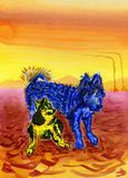 Two funny dogs sitting next to each other. Alaskan Malamutes. Northern polar landscape, in the background - settlement of cattlemen. Bright colors. Watercolor Royalty Free Stock Images