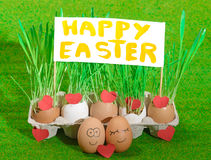 Two funny eggs celebrating easter Stock Photography