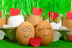 Two funny eggs celebrating easter Royalty Free Stock Photography