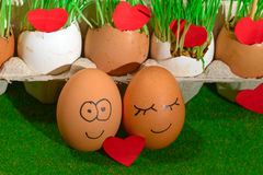 Two funny eggs celebrating easter Royalty Free Stock Photos