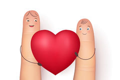 Two funny fingers holding red heart. Inspirational love message for husband, boyfriend or special person. Flat style vector realistic illustration Stock Image