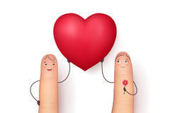 Two funny fingers holding red heart. Inspirational love message for husband, boyfriend or special person. Flat style vector realistic illustration Royalty Free Stock Images