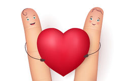 Two funny fingers holding red heart Royalty Free Stock Photos