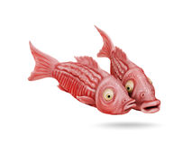 Two funny fish comic cartoon 3D image Stock Photography