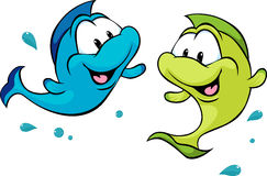 Two funny fish isolated on white background - vector Royalty Free Stock Photos