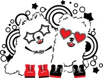 Two funny fluffy dogs. Music vector illustration concept. Animal of 2018 year. Pop art style. Royalty Free Stock Images