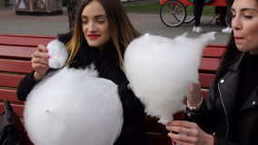 Two funny girlfriend eat cotton candy on the street stock video