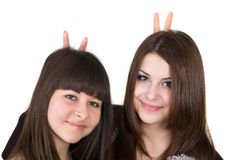 Two funny girls Royalty Free Stock Images