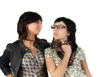 Two funny girls isolated Stock Images