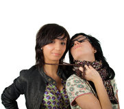 Two funny girls isolated Royalty Free Stock Image