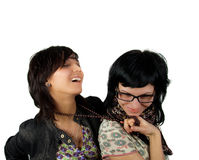 Two funny girls isolated Stock Photo