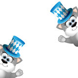 Two funny gray cats in a bavarian hat. Card for Oktoberfest. Stock Photo